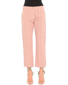 Arrow-Cut Fringed-Edge Jeans, Pink
