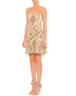 Printed Suede Slip Dress with Fringe