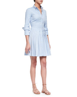 Oxford Double-Cuff Shirtdress, Sky Blue