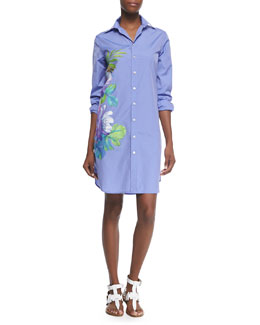 Clancy Floral-Print Shirtdress, Light Blue