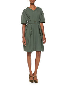 V-Neck Pleated Wool Dress, Green