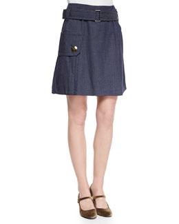 Belted Pocket Flounce Skirt