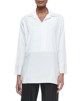 Silk-Paneled Long-Sleeve Blouse, White
