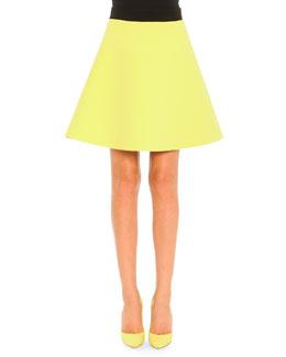 Two-Tone A-Line Skirt, Lime/Black