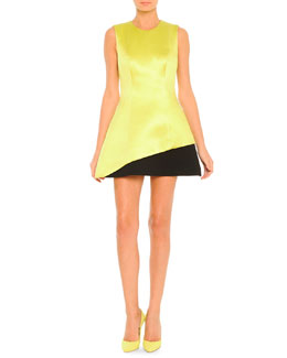Jewel-Neck Contrast Hem Dress, Lime/Black