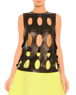 Laser-Cut Leather Top, Black