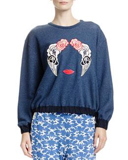 Long-Sleeve Sweatshirt with Appliqués