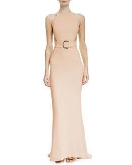 Side-Slit Racerback Belted Gown, Rose
