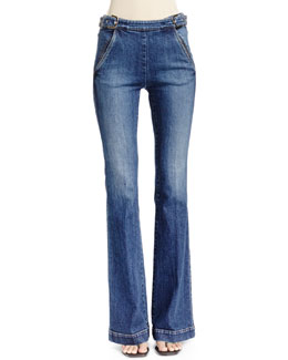 Flare-Leg Jeans with Side Buckles
