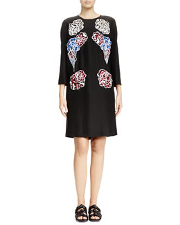 Floral-Print Applique Shift Dress, Black