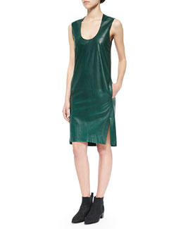 Scoop-Neck Leather Dress, Racing Green