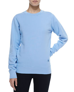Crewneck Sweatshirt with Emoji Patch, Pale Blue