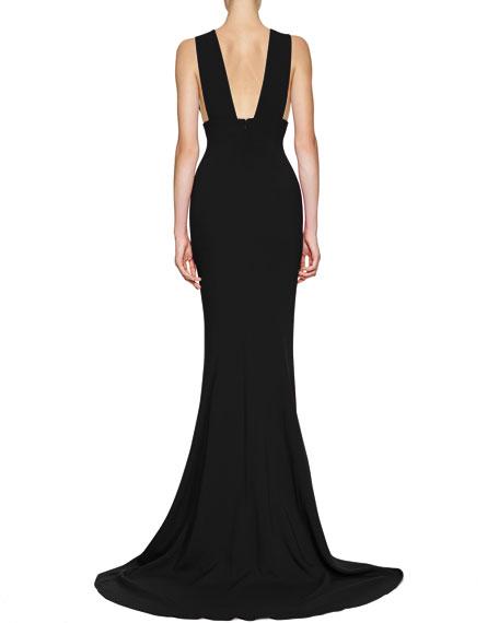 Plunging Sleeveless Godet Gown, Black