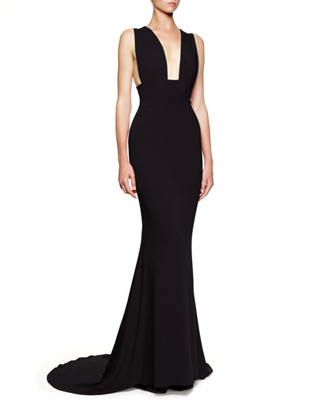 Plunging Sleeveless Godet Gown, Black