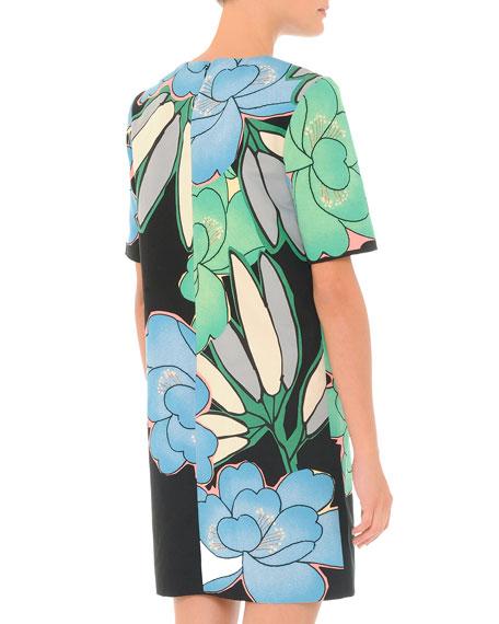 Jewel-Neck Floral-Print Shift Dress, Powder Blue