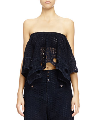 Chloe Strapless Eyelet Lace Bra Top & Eyelet Guipure Lace , Deep Navy