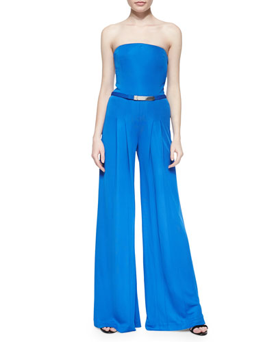 Breena Strapless Crepe Jumpsuit, Hydro Blue