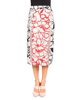 Bicolor Floral Silk Midi Skirt