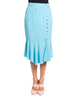 Button-Side Flounce Skirt