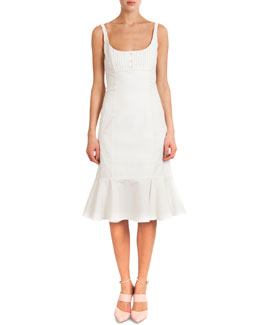 Sleeveless Silk Dress W/ Flounce Bottom