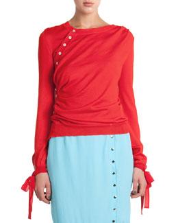 Wool/Silk Side-Button Sweater W/ Tie Cuffs