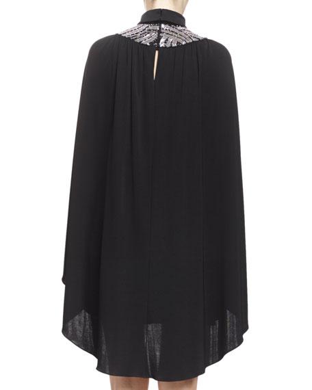 Embroidered-Neck Cape Dress, Noir