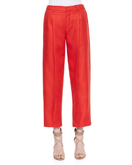 Front-Pleat Tapered Cropped Pants