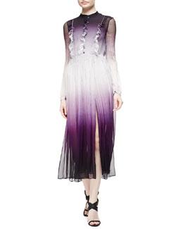 Degrade Ruffled Mulberry Silk Dress