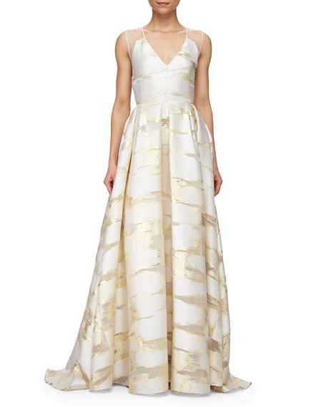 Sheer-Back Metallic Space-Dyed Gown, Gold