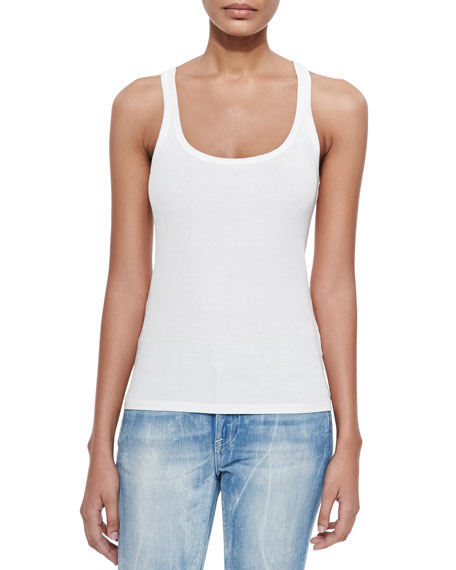 Teaser Scoop-Neck Ribbed Tank, Optic White