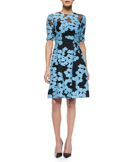Floral-Embroidered Fit-and-Flare Dress, Black/Blue