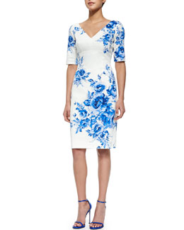 Floral-Print Elbow-Sleeve Sheath Dress, Blue