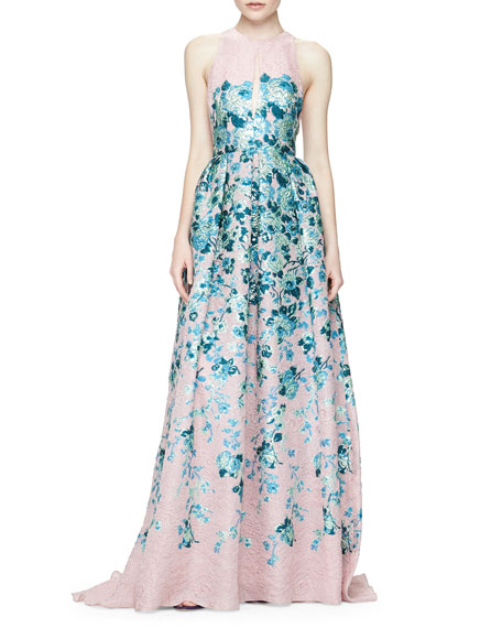 Keyhole Cutout-Back Floral Jacquard Gown, Blush/Blue
