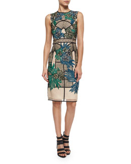 Floral Embroidered Lace Paneled Dress