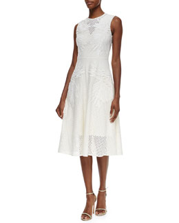 Floral-Embroidered Eyelet Lace Midi Dress