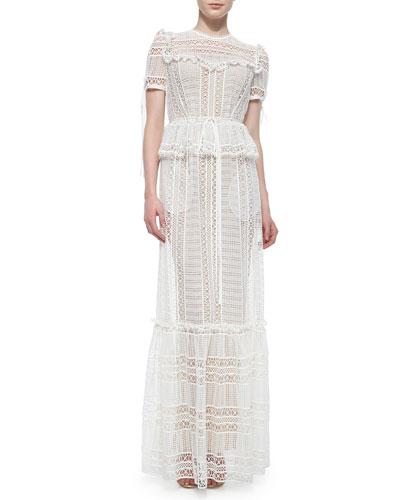 Peplum Sheer Lace Tiered Maxi Dress