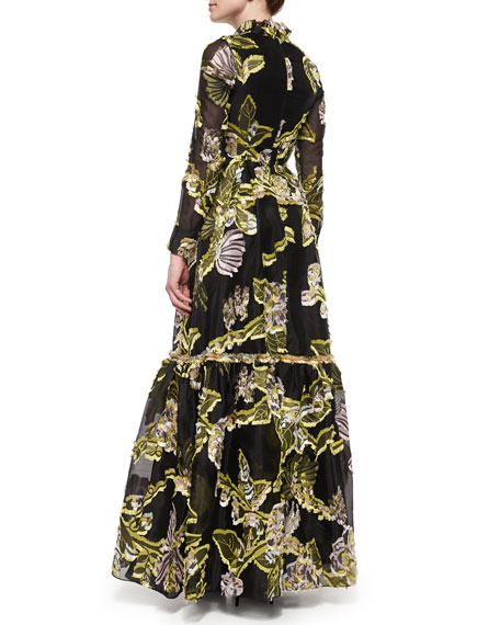Half-Button Floral Fil Coupe Flounce Gown