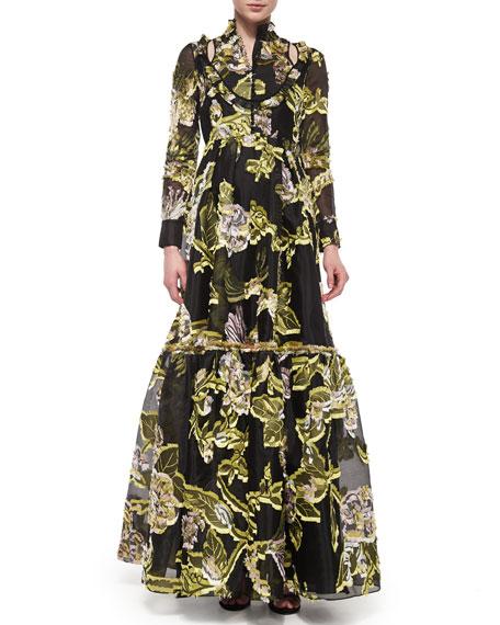 Half-Button Floral Fil Coupe Flounce Gown