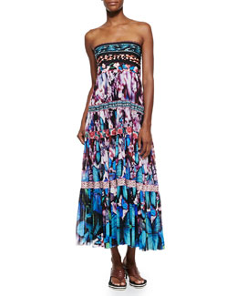 Printed Tiered Full-Skirt Dress, Blue Multi