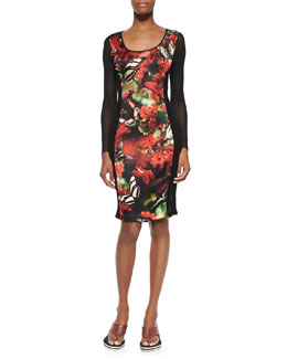 Cherry Butterfly-Print Fishnet Lace-Inset Dress, Black/Red