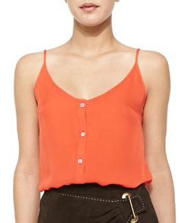 Silk Button-Down Tank, Orange