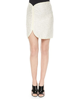 Cord-Framed Crinkled Satin Skirt, Ivory/Cream