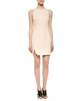 Sleeveless Contoured Scuba Dress, Whisper Pink
