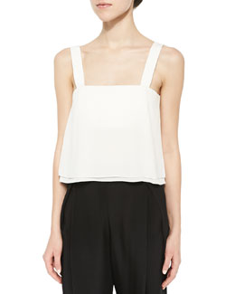 Double-Layered Wide-Strap Crop Top, Antique White