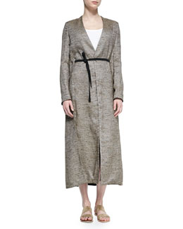 Vantin Convertible Long Coat, Oak Melange