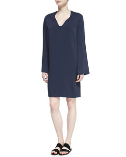 Camacho V-Neck Wide-Sleeve Dress, Navy