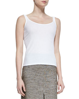 Kim Ribbed Jersey Tank Top, White