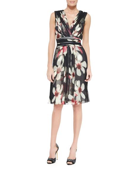 Magnolia-Print Sash-Waist Silk Dress