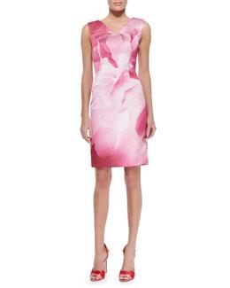 Peony-Print Sheath Dress