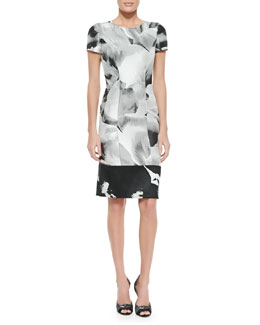Photographic Petal Jacquard Sheath Dress